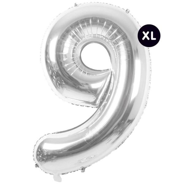Folienballon 9 silber XL