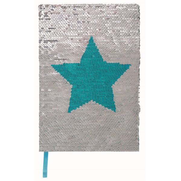 Notizbuch mit glitzernden Wendepailletten silber