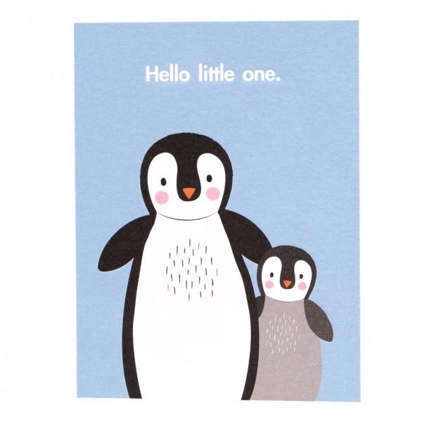 Babykarte Hello little one - Pinguin