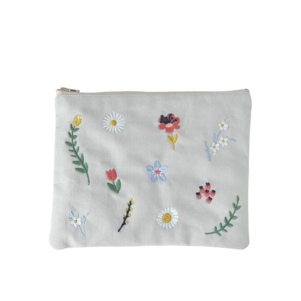 Täschchen mit Blumenstickerei beige