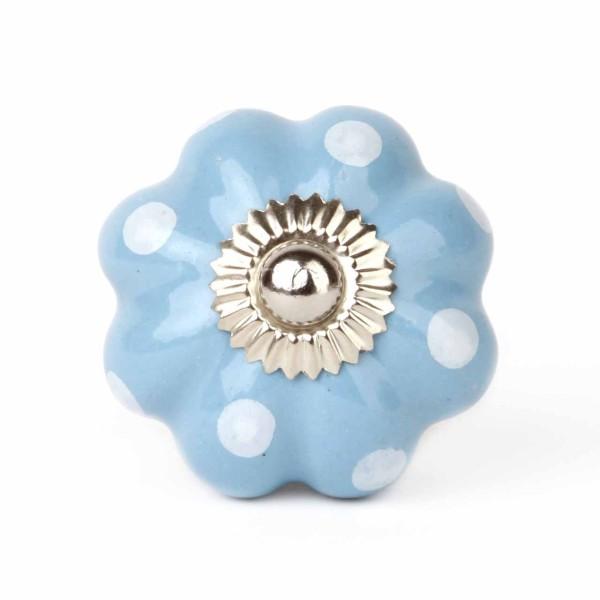 Möbelknauf Lilly blau/weiß