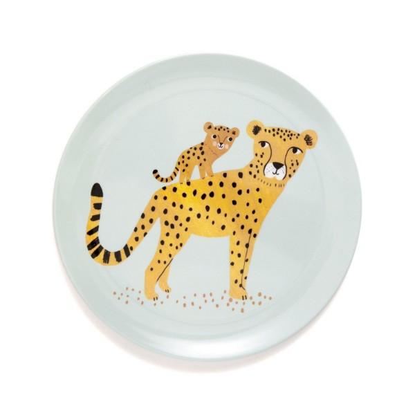 """Melamin Teller """"Leopard"""" blau flach"""