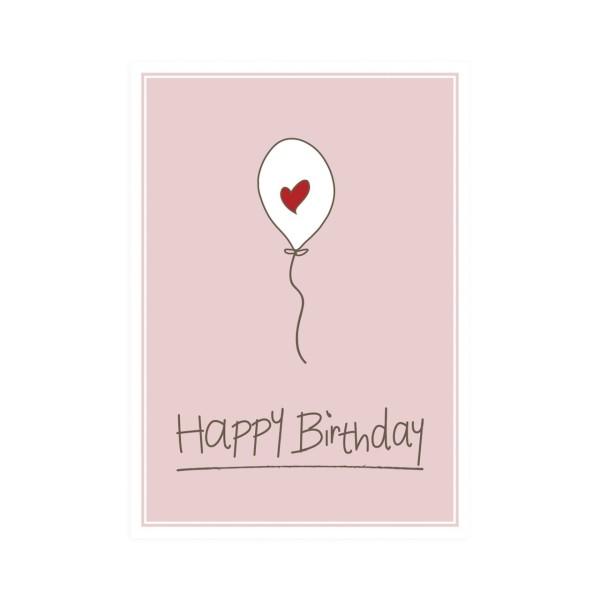 Postkarte hoch Happy Birthday Ballon