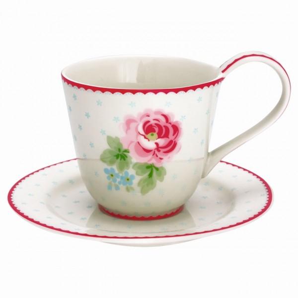 Tasse mit Unterteller Lily white