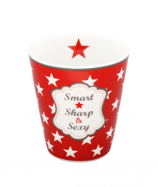 "Krasilnikoff Becher ""Smart Sharp Sexy"" rot"