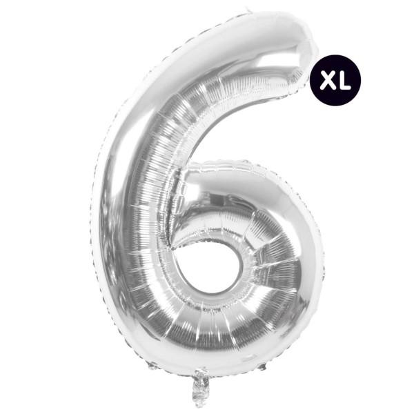 Folienballon 6 silber XL