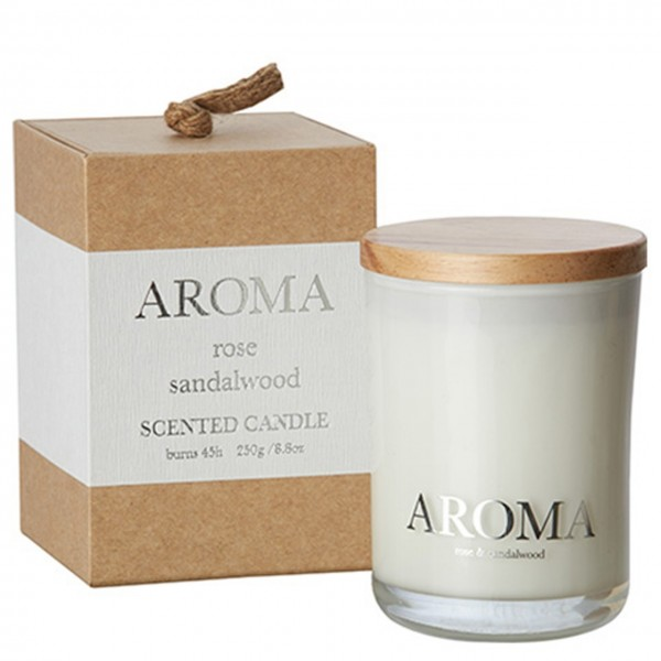 Kerze Aroma rose & sandalwood M