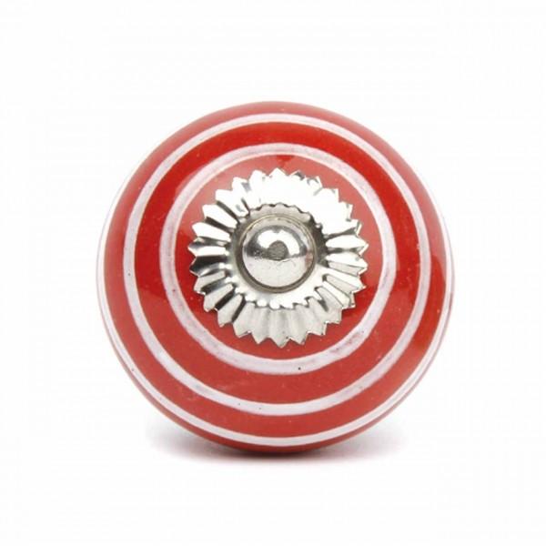 Möbelknauf Streifen rot/weiß klein