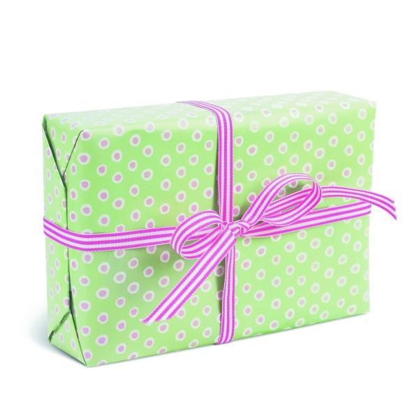 KRIMA Geschenkpapier Grün/Rosa tupfen