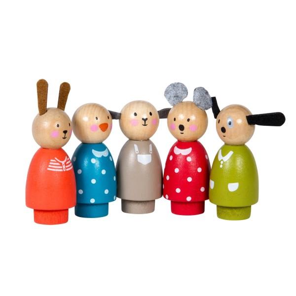 5-Figuren-Set aus Holz La Grande Famille