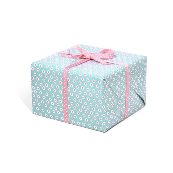Geschenkpapier Tupfer Türkis Rosa