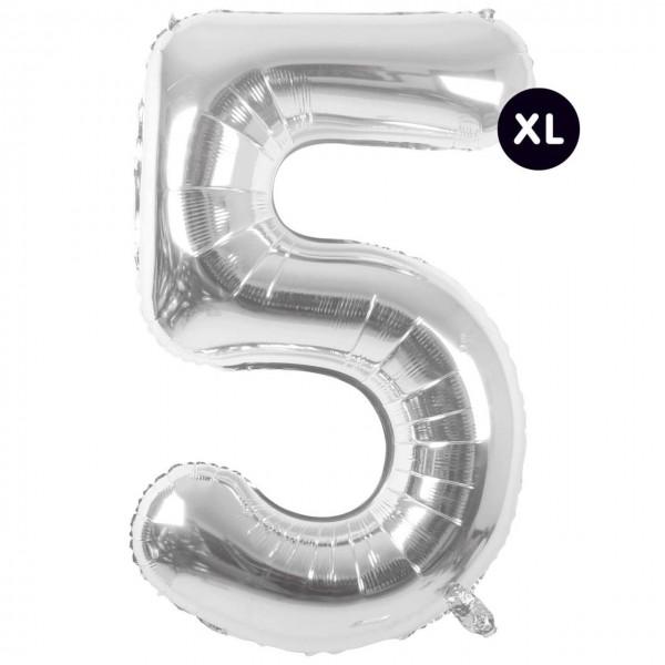 Folienballon 5 silber XL