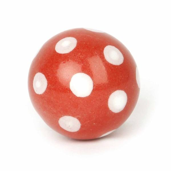 Möbelknauf Ball Polka Dot rot/weiß
