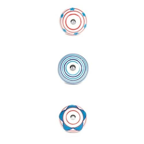 "Möbelknauf Serie ""Zirkus"", 3er-Set, blau/rot"