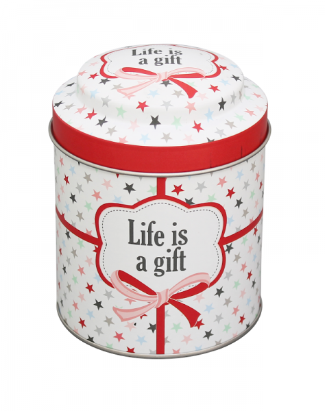 "Krasilnikoff Tin Box Blechdose ""Life is a gift"""