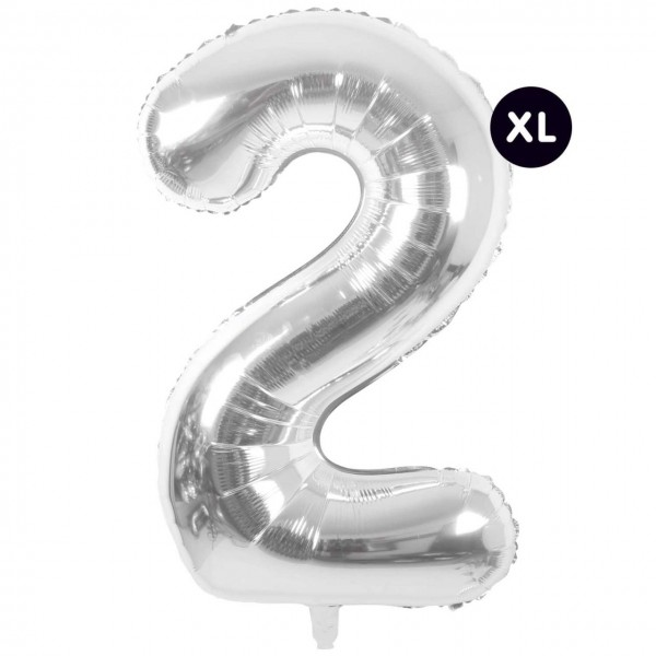 Folienballon 2 silber XL
