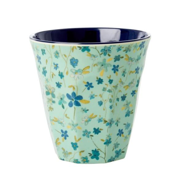 Melamin Becher Blumen blau