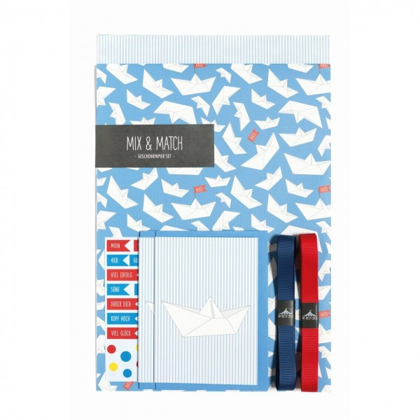 Geschenkpapierset Boote Ahoi blau