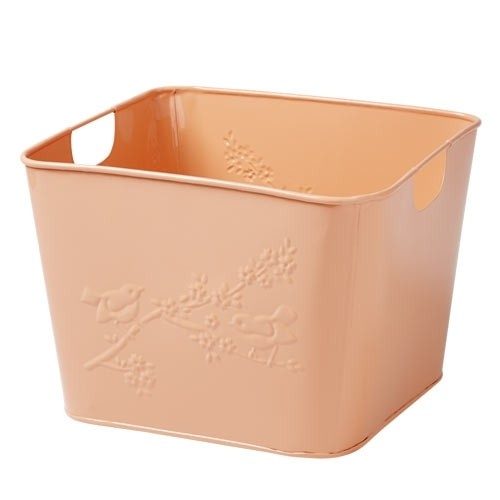 Spielzeugbox Metall mit Vögeln apricot