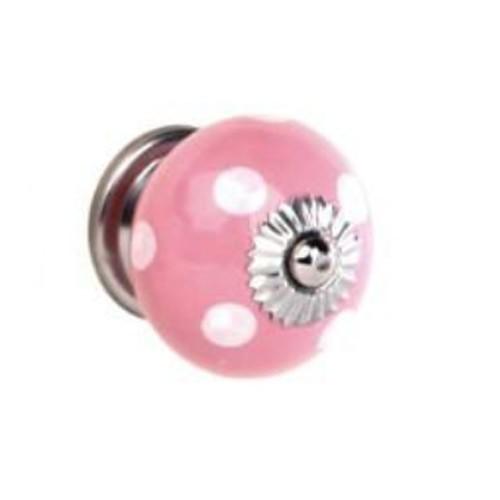 Möbelknauf Punkte rosa/weiß klein
