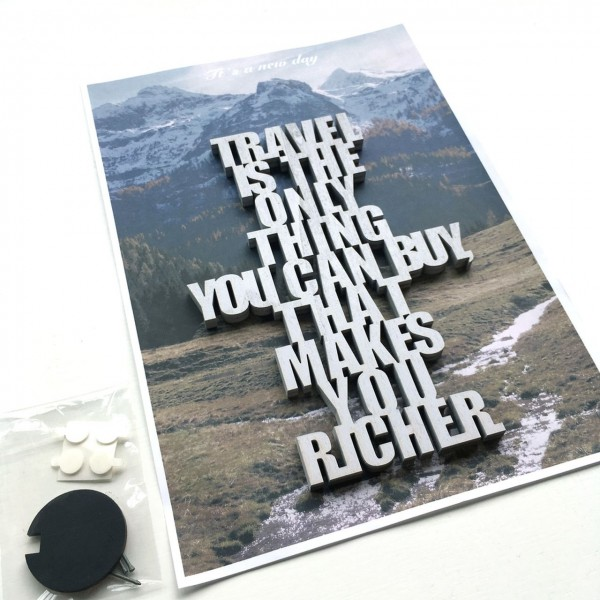 Travel is the only thing... Schriftzug hellblau