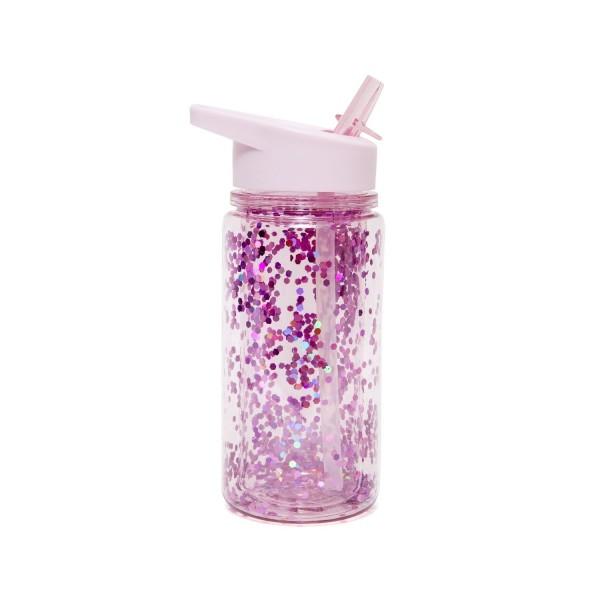 Trinkflasche mit lila Glitter