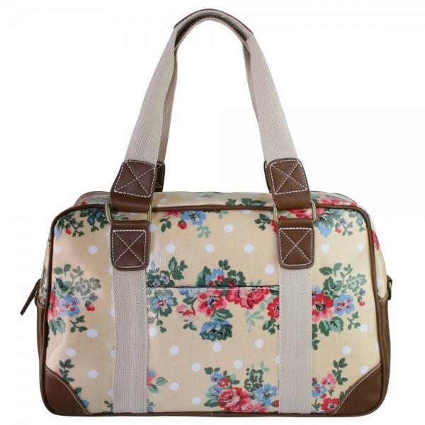 Huiskamergeluk Handtasche Travel Bag Flower Beige Dot