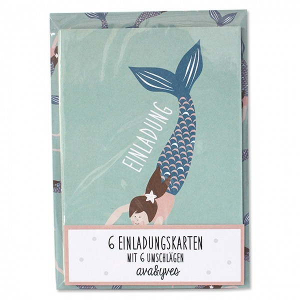 Einladungskarten-Set Meerjungfrau