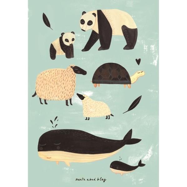 Poster schwarz-weiße Tiere mint | Petit Monkey Kinderzimmer | Petit ...