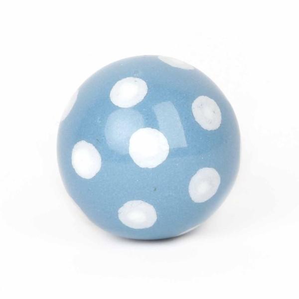 Möbelknauf Ball Polka Dot hellblau/weiß