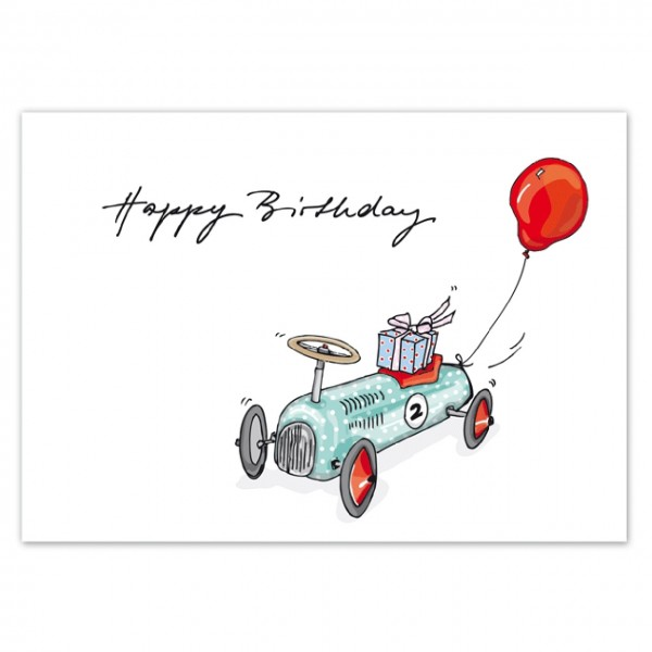Postkarte Wagen Birthday