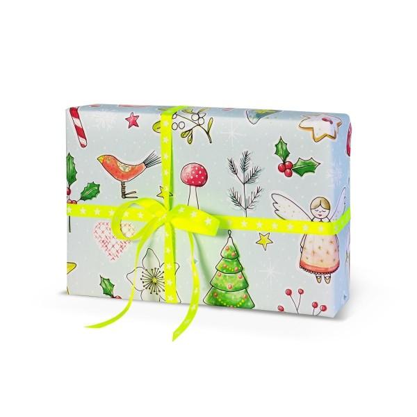 Geschenkpapier Weihnachtsliebelei Türkis