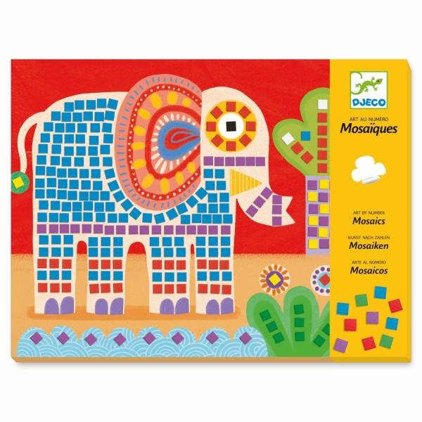 Mosaik: Elefant und Schnecke