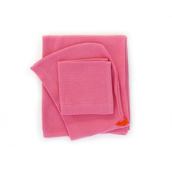 Biobu Baby-Kapuzentuch & Waschlappen Set Flamingo