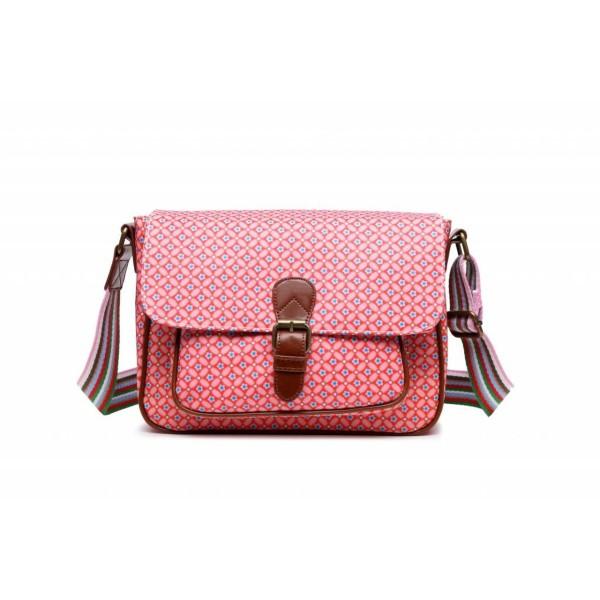 Handtasche Saddle Bag Canvas Geometric Rose