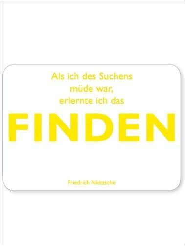Postkarte Finden, matt weiß, quer, Nietzsche