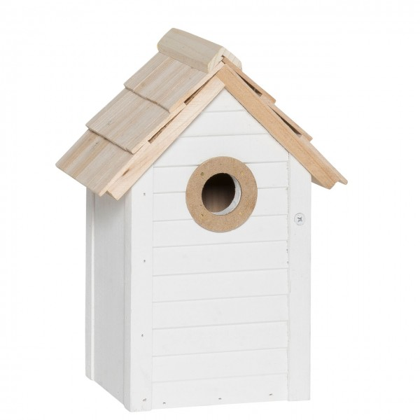 Vogelhaus weiss mit Naturdach