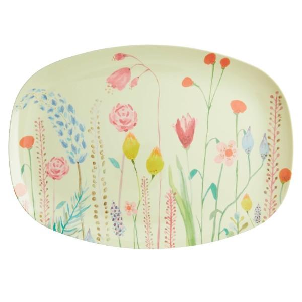 RICE Melamin Teller oval Sommerblumen