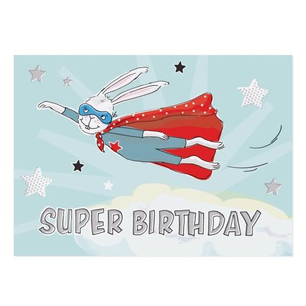 Postkarte Super-Birthday