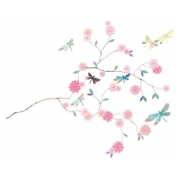 Wandsticker 3D Libellen Baum